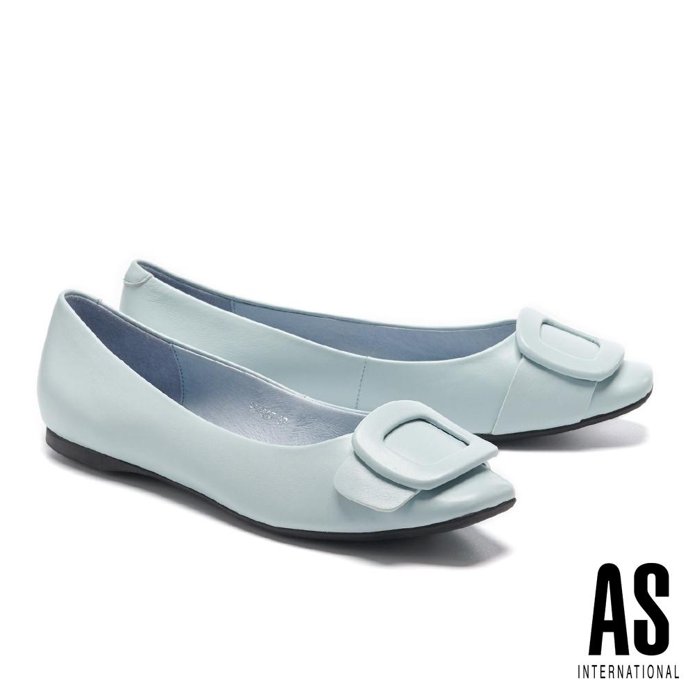 平底鞋 AS 優雅氣質方型帶釦全真皮方頭平底鞋-藍