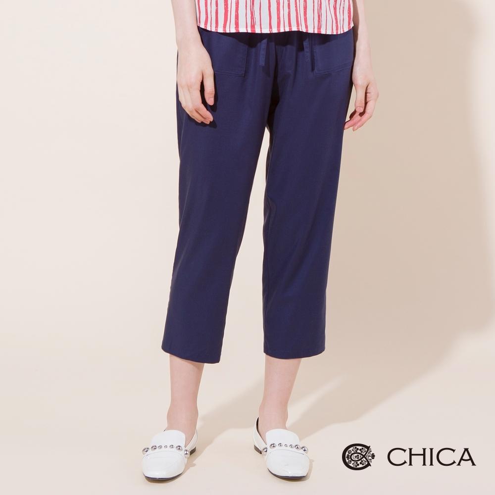 CHICA 純色質感綁帶九分老爺褲(2色)