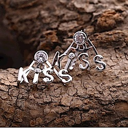 米蘭精品 925純銀耳環-鑲鑽KISS耳環