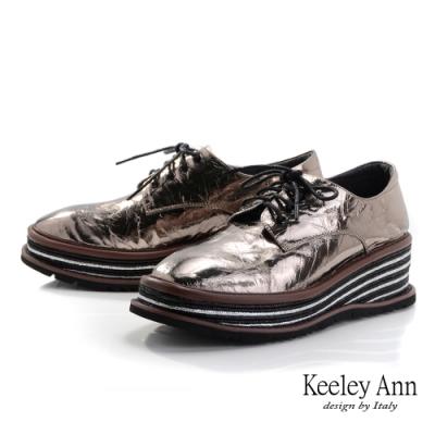 Keeley Ann極簡魅力 錫箔感撞色厚底鞋(槍色-Ann系列)