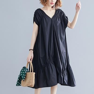米蘭精品 連身裙短袖洋裝-V領不規則下擺黑色女裙子73xz7