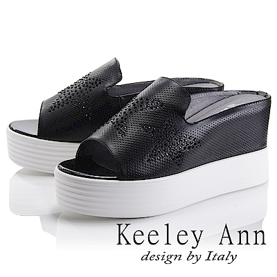 Keeley Ann 簡約美學~全真皮星星水鑽厚底拖鞋(黑色-Ann系列)