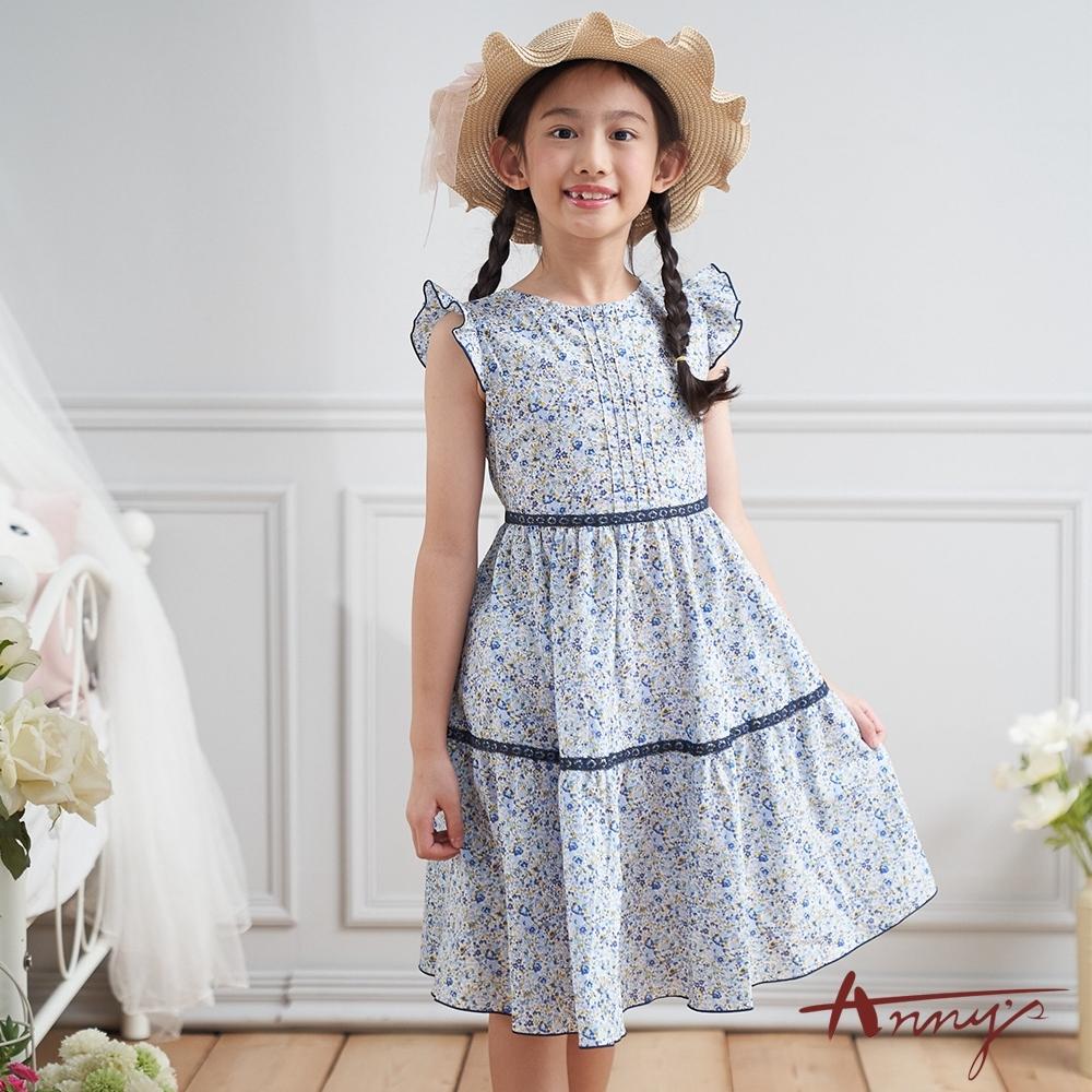 Annys安妮公主-中童夏日花田純棉舒適荷葉飛袖洋裝*0302藍