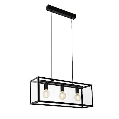 EGLO歐風燈飾 現代黑玻璃三燈式造型吊燈(不含燈泡)