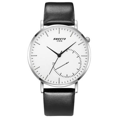 Watch-123 30度錶冠設計仿秒盤黑白手錶 (2色任選)