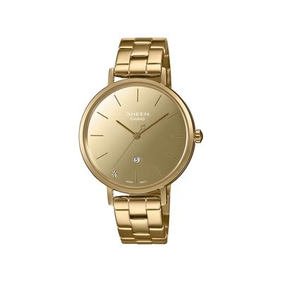 CASIO卡西歐 SHEEN 極簡時尚 絕美鏡面錶盤 水晶點綴 藍寶石水晶玻璃 高雅金  SHE-4544G-9A_34mm