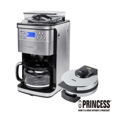 PRINCESS荷蘭公主全自動智慧型美式咖啡機+鏡面鬆餅機249406+132302