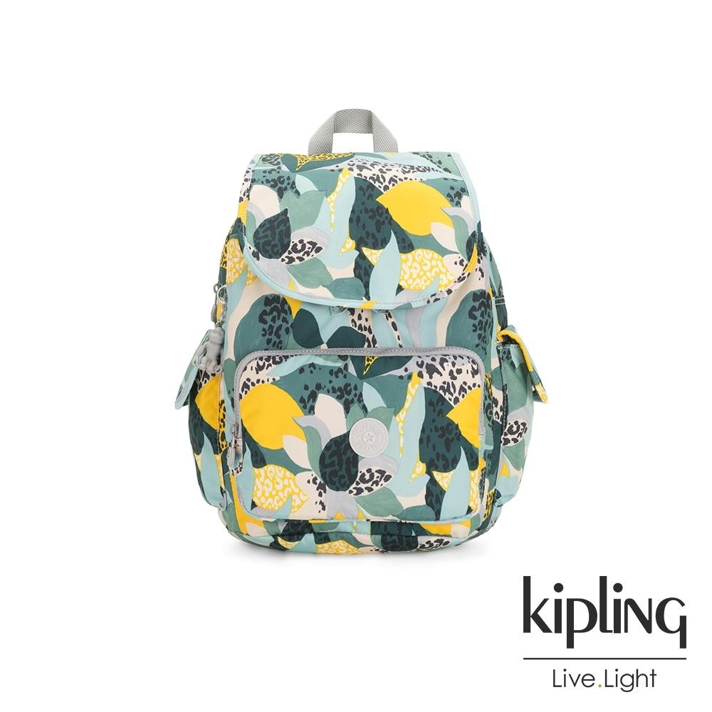 Kipling 叢林展葉綠拉鍊掀蓋後背包-CITY PACK