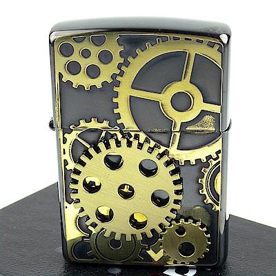 ZIPPO 日系~齒輪圖案-蝕刻立體金屬貼飾打火機 (BSB款)