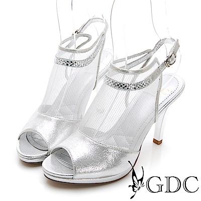 GDC-性感真皮網紗簍空魚口涼鞋-銀色