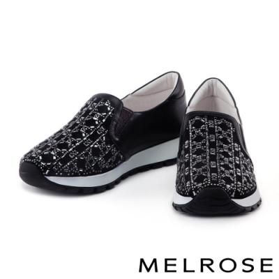 休閒鞋 MELROSE 異材質拼接獨特排鑽厚底休閒鞋-黑