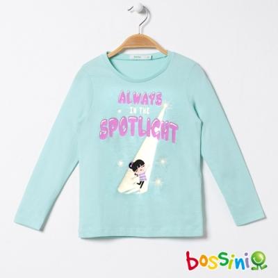 bossini女童-印花長袖T恤02藍綠
