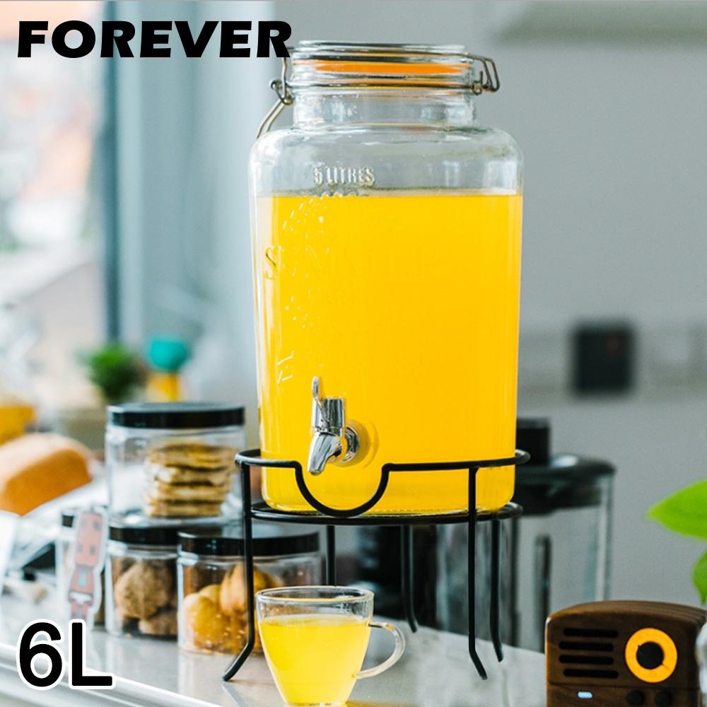 日本FOREVER 夏天必備派對玻璃果汁飲料桶(含桶架)6L