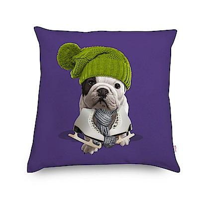 法國數位藝廊-狗狗抱枕/靠墊-冰刀好手(紫)-含芯/40x40