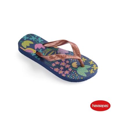 Havaianas哈瓦仕 拖鞋 夾腳拖 人字拖 花卉 巴西 兒童 童鞋 藍玫瑰金 4000052-7182K Kids Flores