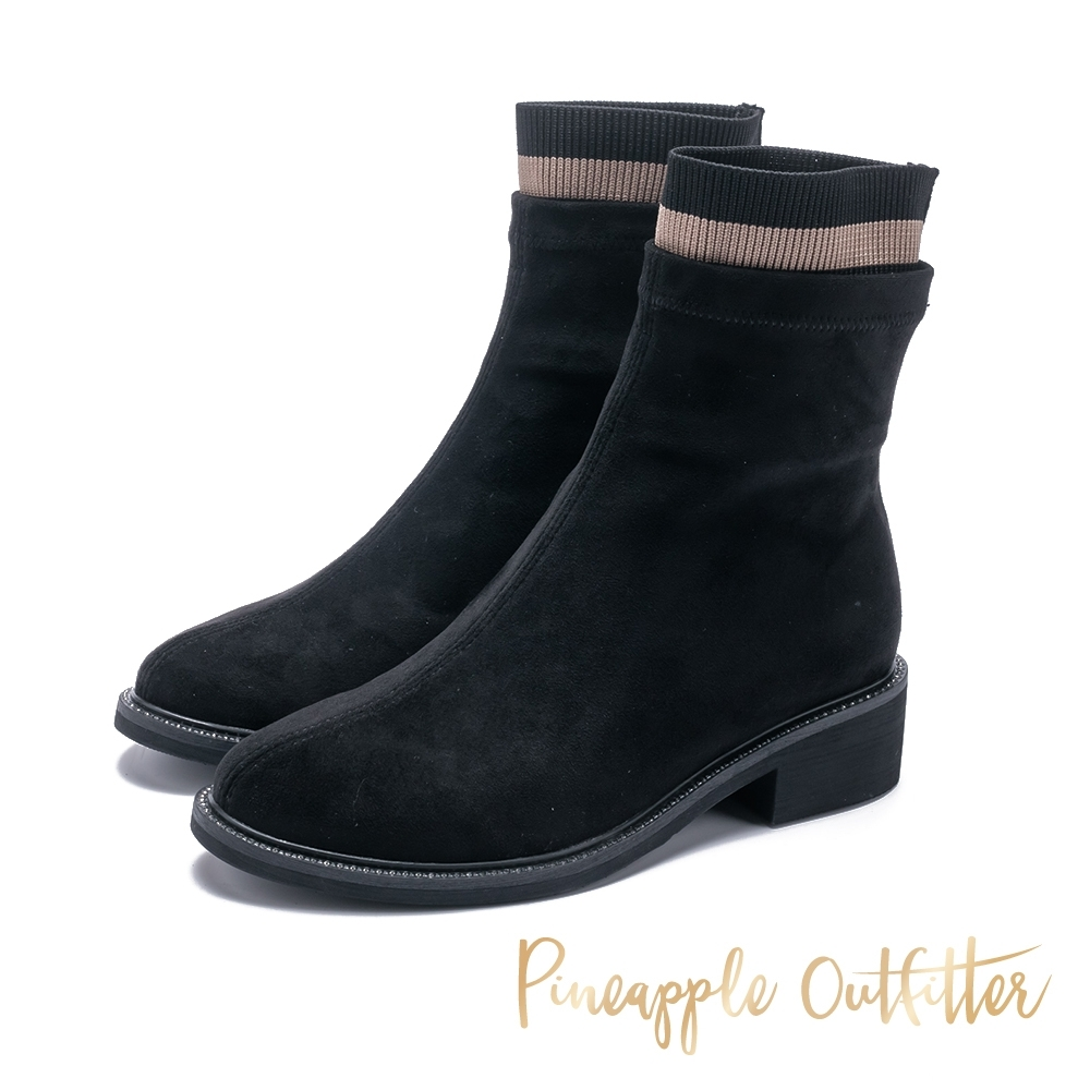 Pineapple Outfitter 車線仿襪子絨面粗跟短靴-絨黑色 product image 1