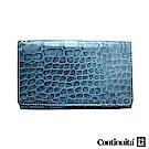 Continuita 康緹尼 頭層牛皮日本鱷魚紋多功能手機套-藍色