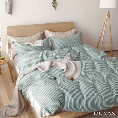 DUYAN竹漾-100%精梳棉/200織-雙人床包被套四件組-抹茶拿鐵 台灣製