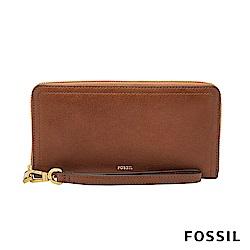 FOSSIL LOGAN 真皮系列多層拉鍊零錢袋長夾-咖啡色