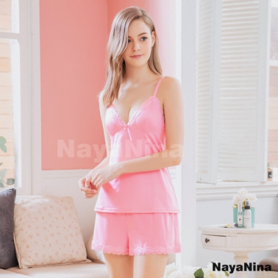 Naya Nina 甜美粉細肩蕾絲二件式衣短褲套裝居家睡衣-粉F