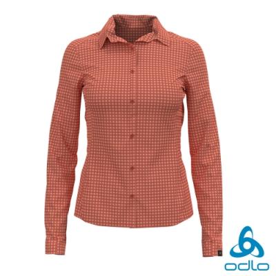 總代理●ODLO 女 KUMANO 銀離子 快乾 抗UV 長袖襯衫 焦赭紅/蜜桃派橘