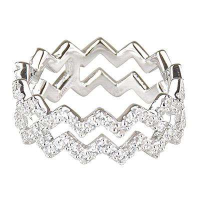 apm MONACO 晶鑽鑲飾雙行Z字設計純銀戒指-銀