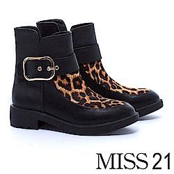 短靴 MISS 21 醒目大金屬釦帶拼接馬毛造型粗跟短靴-豹紋
