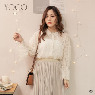 東京著衣-YOCO 韓妞推薦V領蕾絲落肩喇叭袖上衣