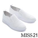 休閒鞋 MISS 21 簡約百搭沖孔拼接造型全真皮厚底休閒鞋-白