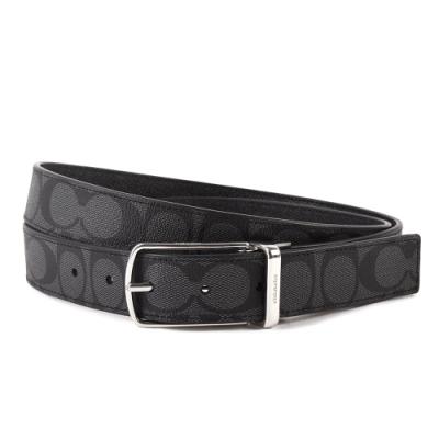 COACH 經典滿版C LOGO PVC皮革穿扣式雙面用皮帶-黑/黑灰色