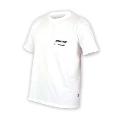 PUMA 男基本系列口袋短袖T恤-慢跑 路跑 白黑
