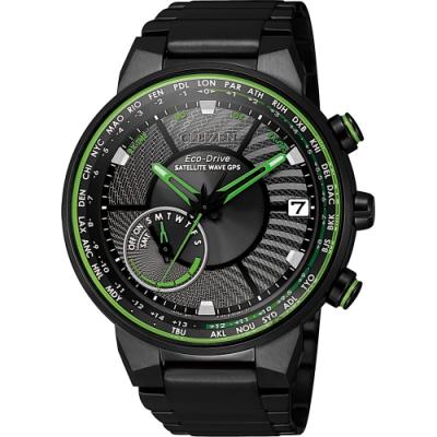 CITIZEN 星辰 光動能GPS衛星對時手錶-綠/44mm(CC3075-80E)