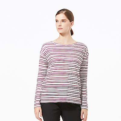 【HAKERS 哈克士】女 抗UV快乾條紋長袖衫-梅紅條