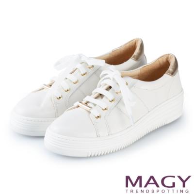 MAGY 真皮綁帶厚底 女 休閒鞋 白色