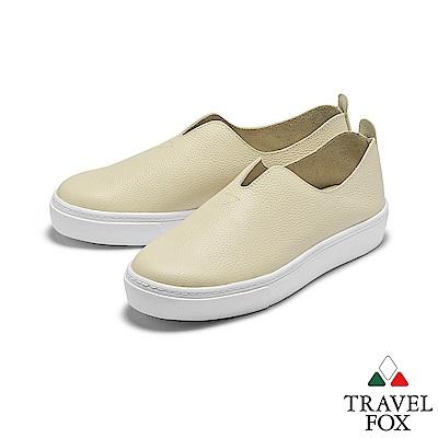 TRAVEL FOX(女) 不只簡單 大V領牛皮舒適高底休閒懶人樂福鞋 - 輕鬆米