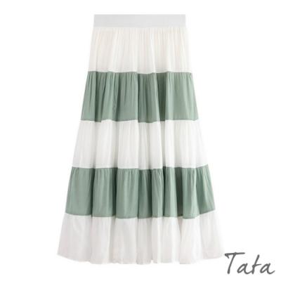 寬條紋光澤半身裙 TATA-F