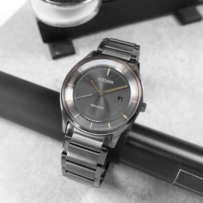 CITIZEN  光動能 簡約時尚 日期 礦石強化玻璃 不鏽鋼手錶-鍍深灰/40mm
