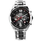 ALBA 日期顯示三眼計時藍寶石水晶玻璃防水不鏽鋼手錶-黑色/43mm