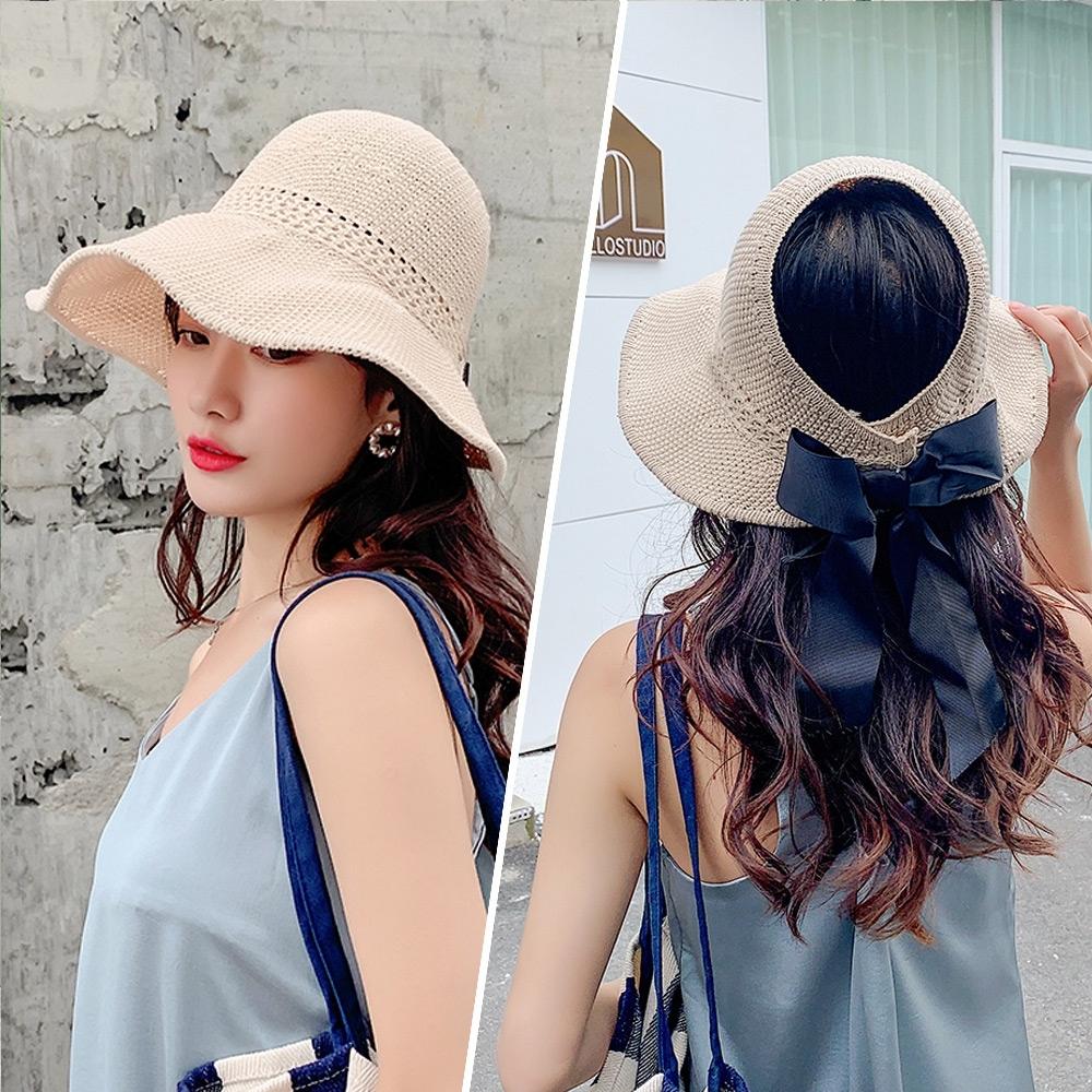 【KISSDIAMOND】大帽檐可折疊編織麻棉遮陽帽(防曬/全防護/好收納/米色)