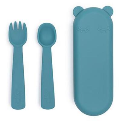 澳洲We Might Be Tiny 熊寶寶矽膠叉匙外出攜帶組-孔雀藍
