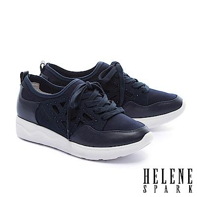 休閒鞋 HELENE SPARK 異材質拼接純色綁帶厚底休閒鞋-藍