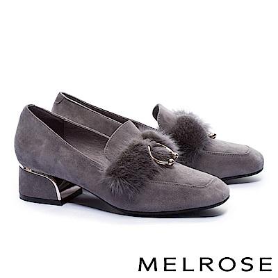 高跟鞋 MELROSE 秋冬個性貂毛環扣羊麂皮方頭高跟鞋-灰