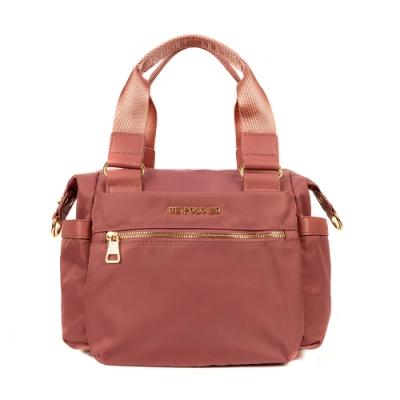 ANGIMI SHOP 斜背手提兩用防潑水饅頭包 時尚貝兒-乾燥玫瑰粉