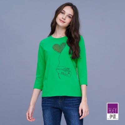 ILEY伊蕾 俏皮愛心燙鑽七分袖上衣(黑/綠)