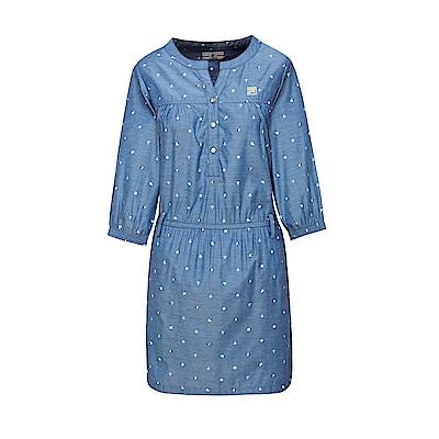 FILA 女款平織洋裝-藍 5DRT-1711-DB