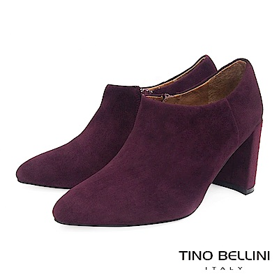 Tino Bellini女人味羊麂皮尖楦高跟踝靴_酒紅