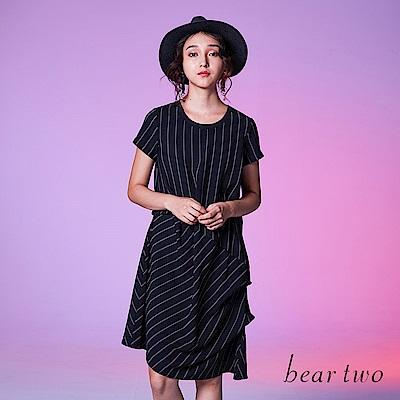 beartwo 經典條紋波浪感設計造型洋裝(黑色)