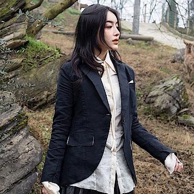 設計所在Style-新款暗黑風修身麻料氣質西裝便裝