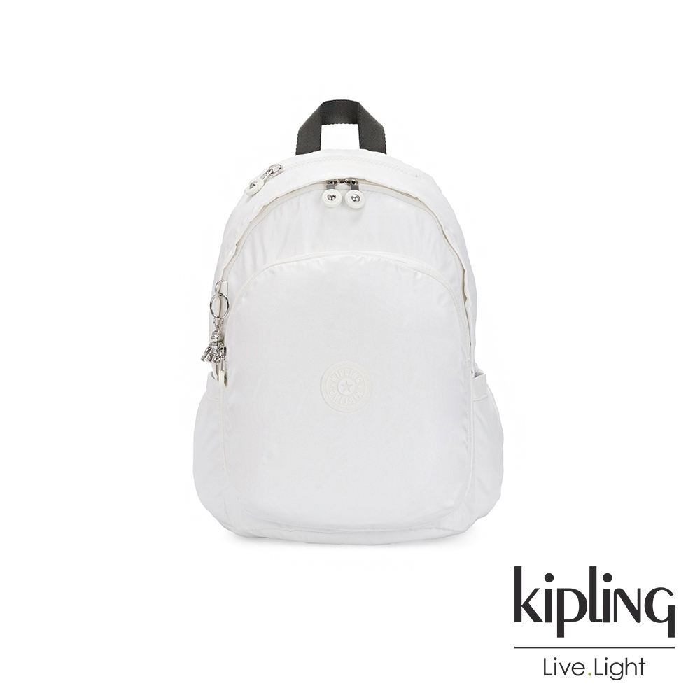 Kipling 時尚極簡白上方拉鍊後背包-DELIA