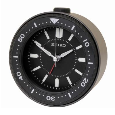 【SEIKO 精工】黑水鬼潛水錶造型滑動秒針鬧鐘(QHE184K)